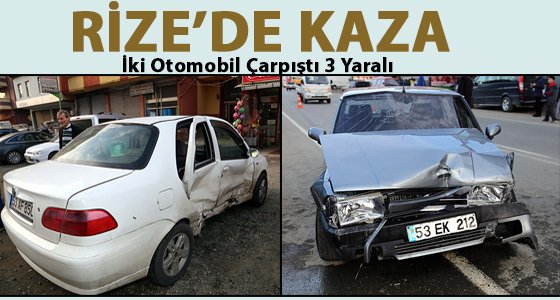 Rize'de iki otomobil �arp��t�: 3 Yaral�